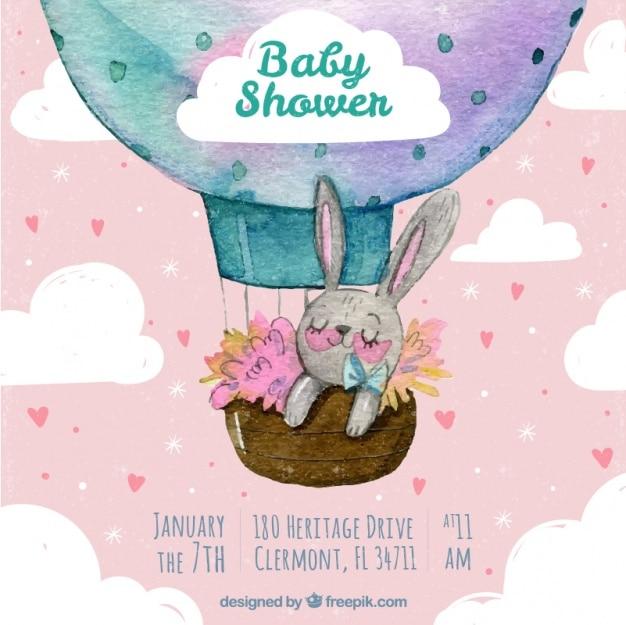 Invitación de fiesta del bebé en acuarela con un bonito conejito vector gratuito