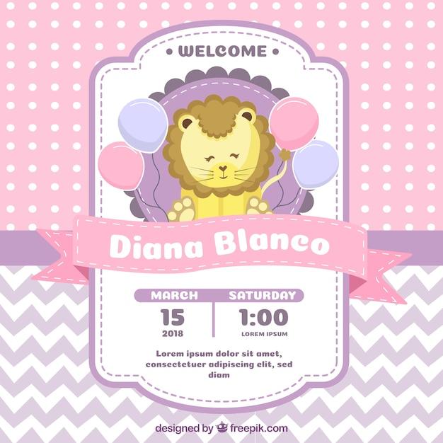 Invitación de fiesta del bebé con león en estilo plano vector gratuito