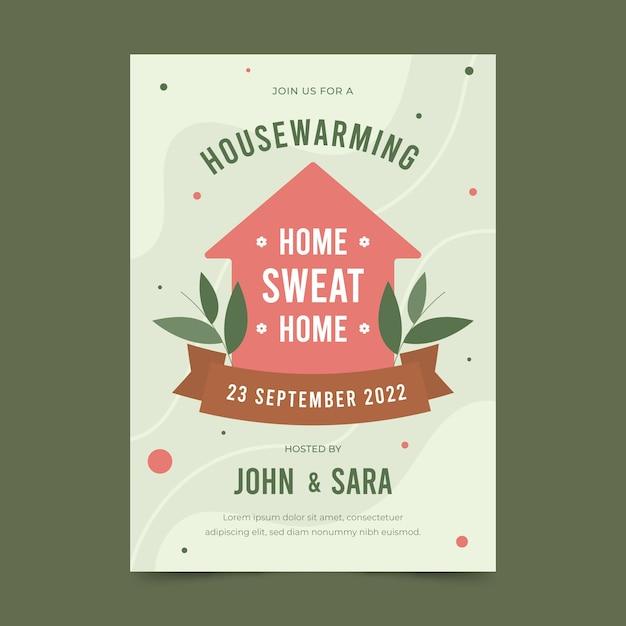 Invitación fiesta de calentamiento de la casa vector gratuito