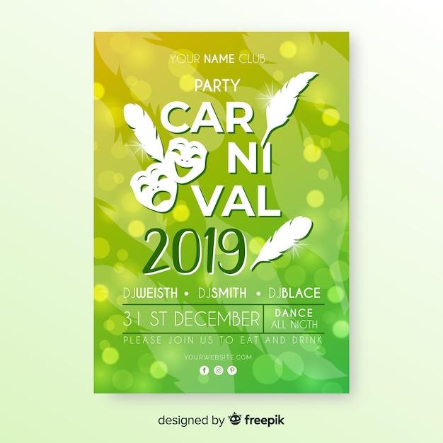 Invitación de fiesta de carnaval vector gratuito