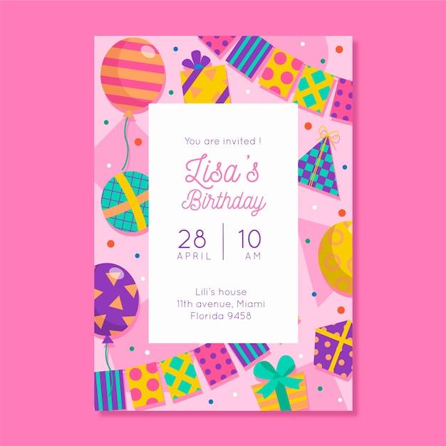 Invitación a fiesta de cumpleaños para niños vector gratuito