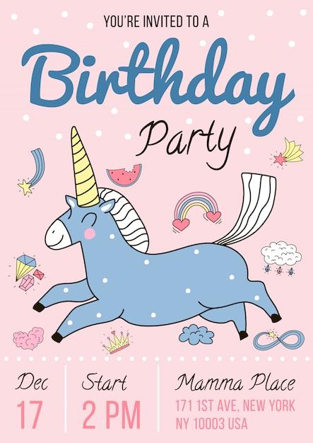 Invitación a fiesta de cumpleaños vector gratuito
