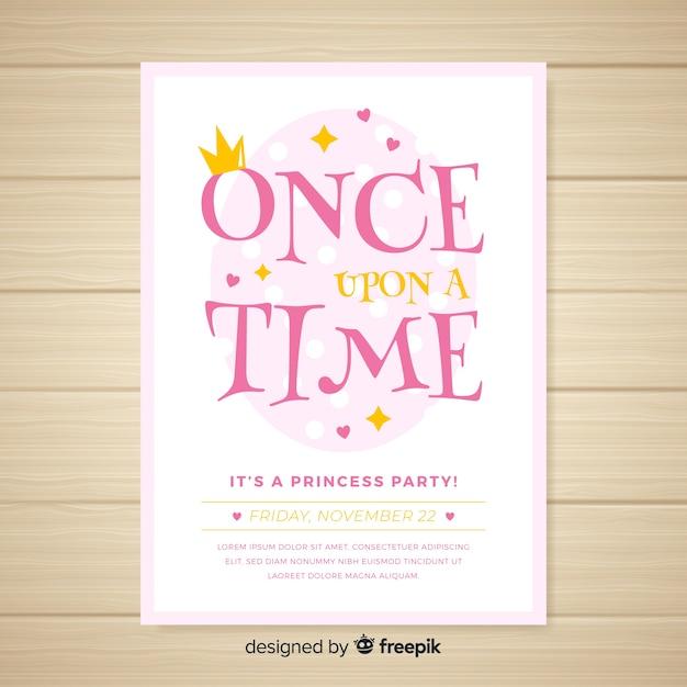 Invitación a fiesta de estilo princesa vector gratuito