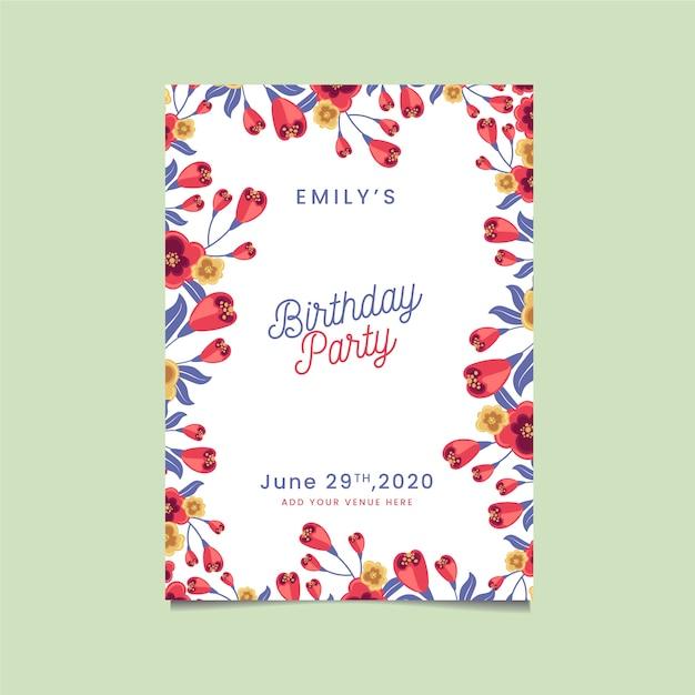 Invitación de fiesta feliz cumpleaños con flores vector gratuito
