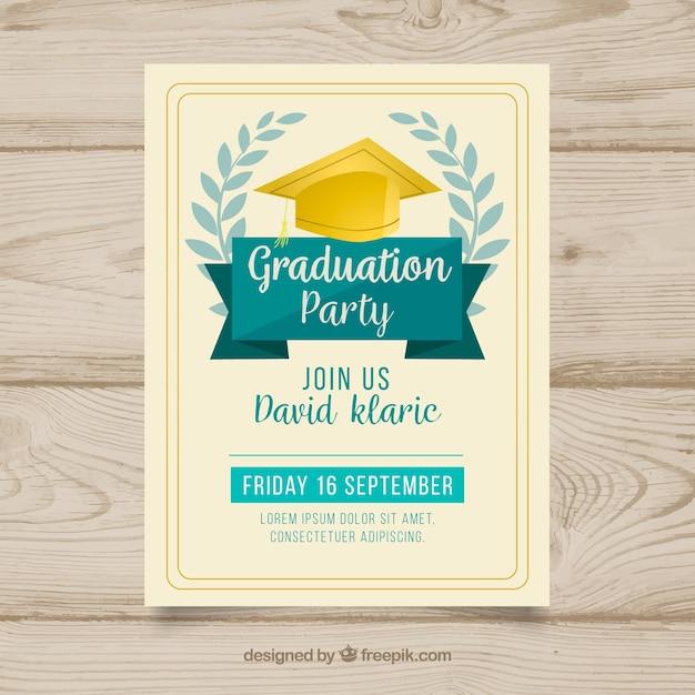 Invitación de fiesta de graduación dibujada a mano vector gratuito