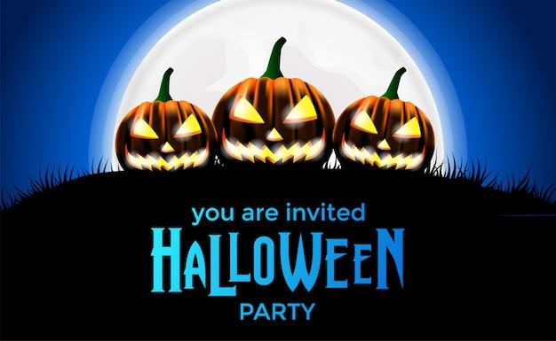 Invitación de la fiesta de halloween Vector Premium