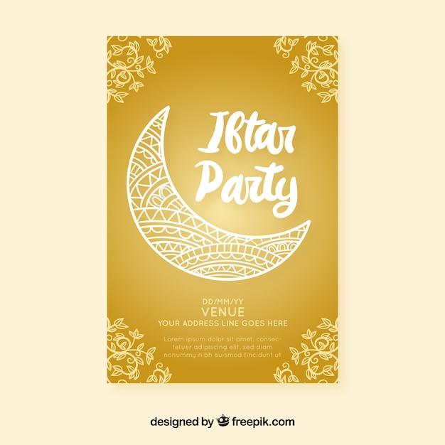 Invitación de fiesta iftar vector gratuito