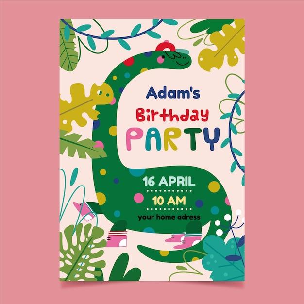 Invitación a fiesta infantil y lindo dinosaurio Vector Premium