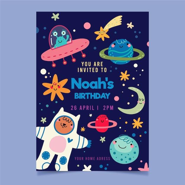 Invitación a fiesta infantil y planetas espaciales vector gratuito