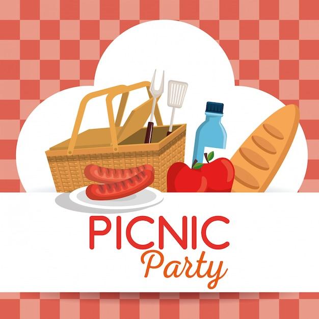 Invitación De Fiesta De Picnic Set Iconos Vector Gratis