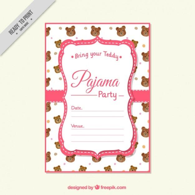c53809c724 Invitación de fiesta de pijama con ositos vector gratuito