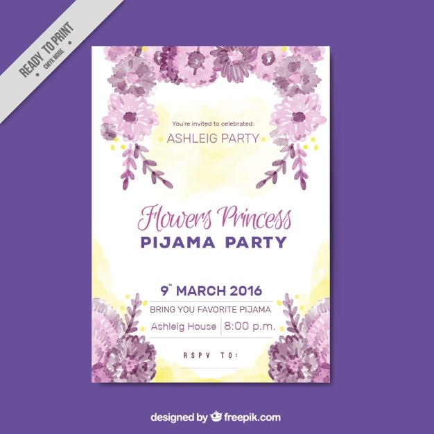 4921ccbce5 Invitación para fiesta de pijamas con flores vector gratuito