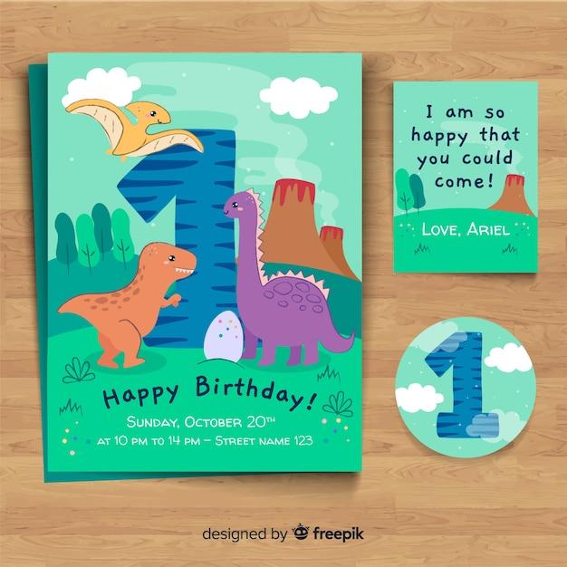 Invitación a fiesta de primer cumpleaños vector gratuito