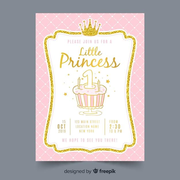 Invitación fiesta de princesas dibujada a mano vector gratuito