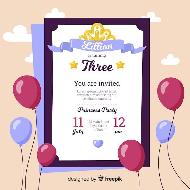 Invitación fiesta de princesas plana vector gratuito