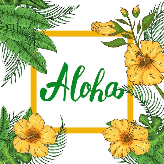 Invitación A La Fiesta Tropical Hawaiana Con Hojas De