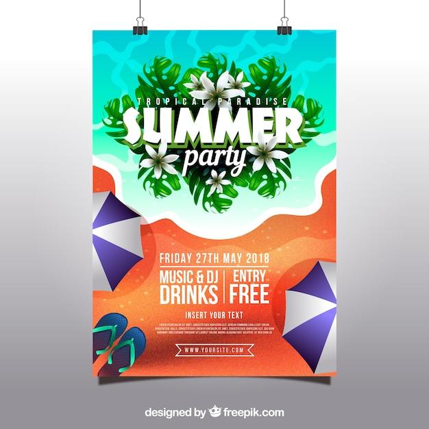 9c9998628c4d Invitación de fiesta de verano con playa en estilo realista ...