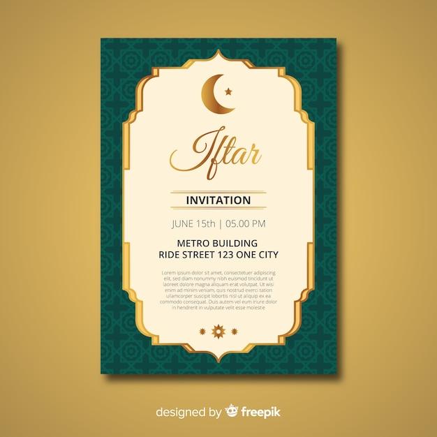 Invitación flat de iftar vector gratuito