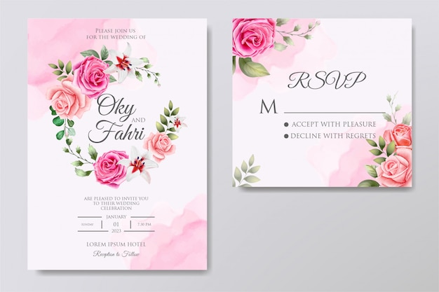 Invitación floral de boda elegante Vector Premium
