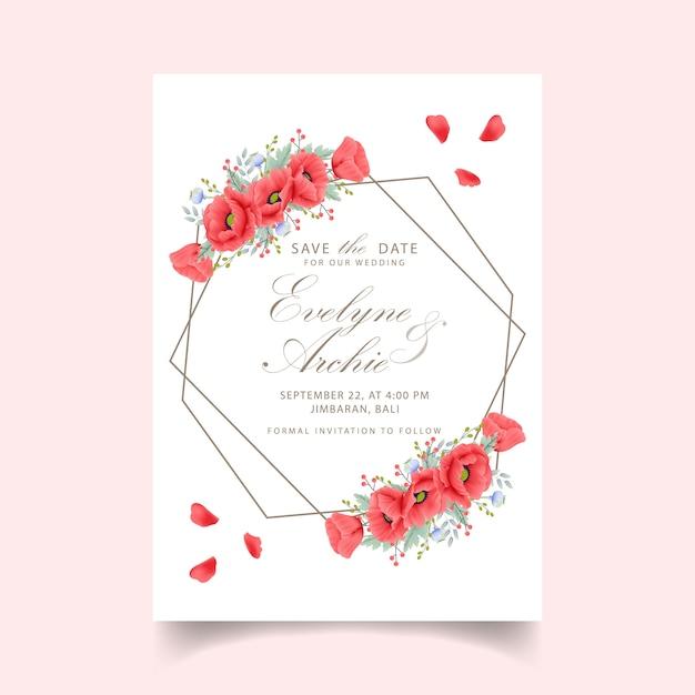 Invitación floral de la boda con la flor de la amapola Vector Premium