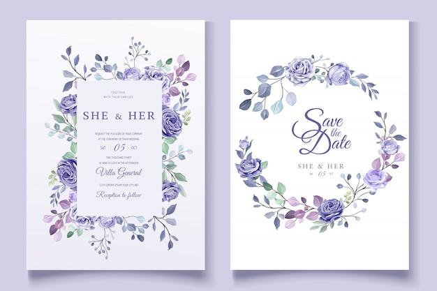 Invitación floral colorida de la boda Vector Premium