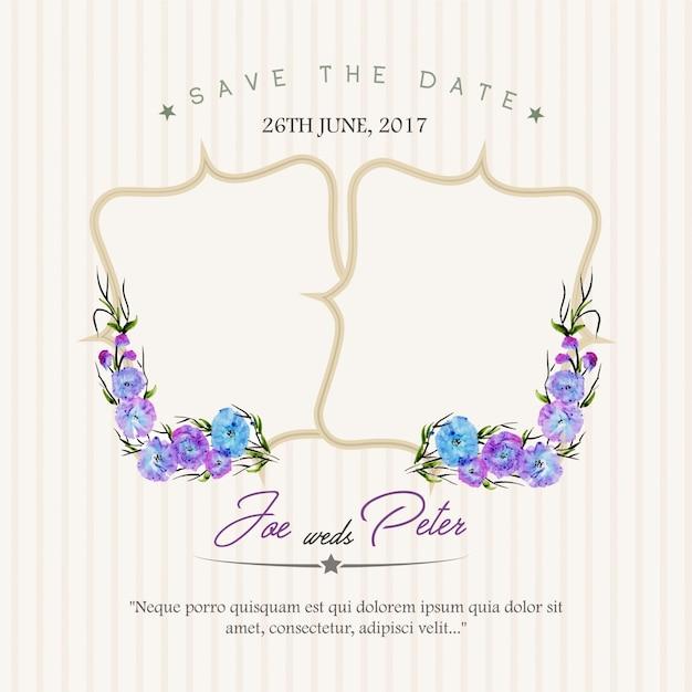 Invitación floral de boda con fondo de rayas Vector Gratis