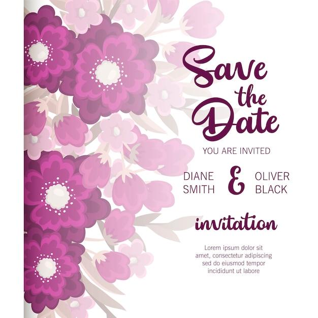 Invitación floral hermosa de la boda vector gratuito