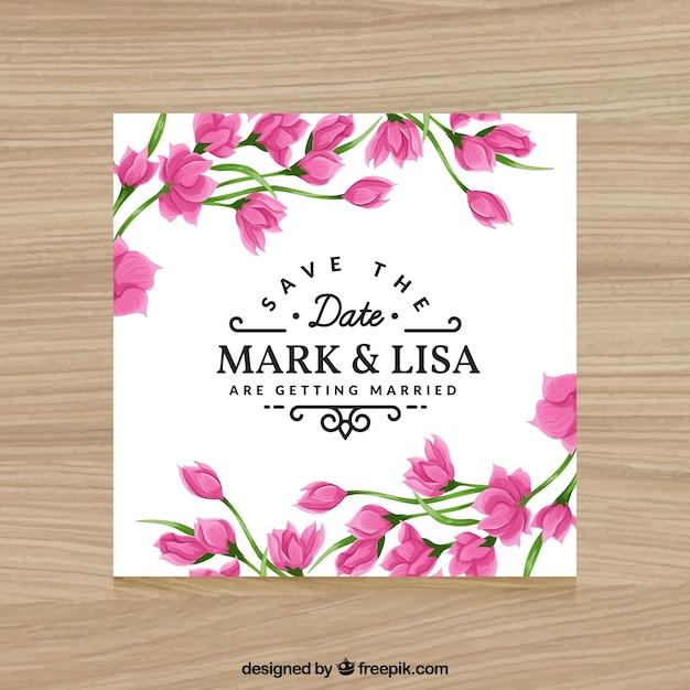 Invitación Con Flores De Color Rosa Para Bodas Vector Gratis