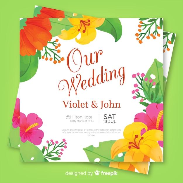367abc8f8e62 Invitación de flores tropicales de boda en acuarela vector gratuito