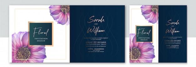 Invitación de fondo floral de lujo con dos estilos Vector Premium