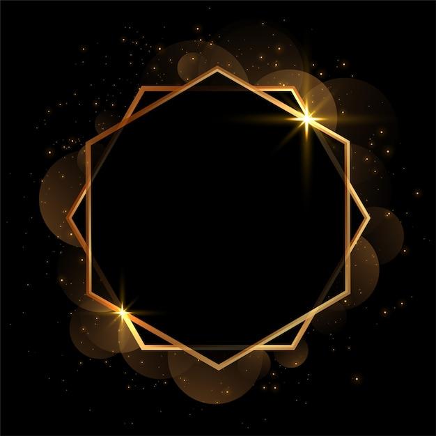 Invitación geométrica dorada en blanco marco de fondo vector gratuito