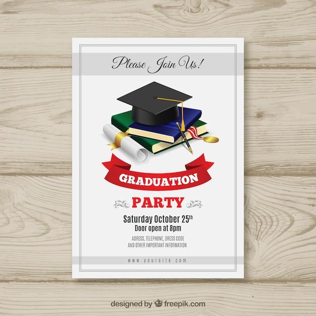 Invitación de graduación elegante con diseño realista vector gratuito