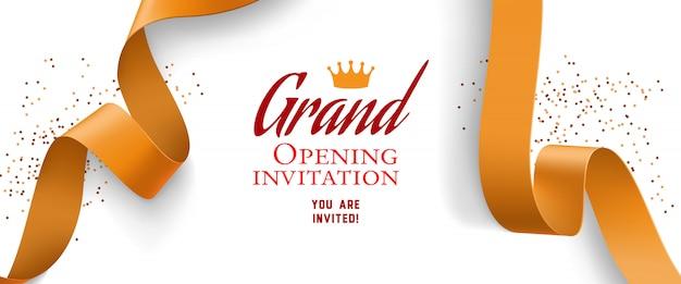 Invitación de gran inauguración con confeti, cintas de oro vector gratuito
