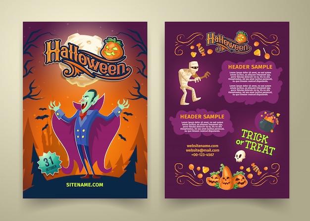 Invitación de halloween en la lista. plantilla de folleto con encabezados. fondo con el conde drácula. vector gratuito