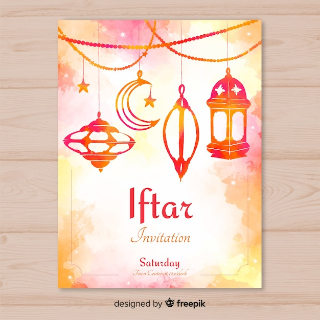 Invitación para iftar en acuarela vector gratuito