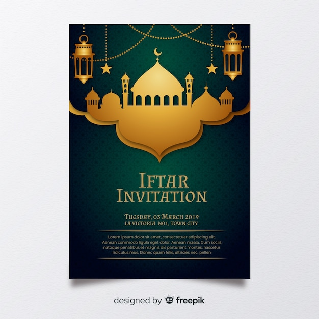 Invitación a iftar vector gratuito