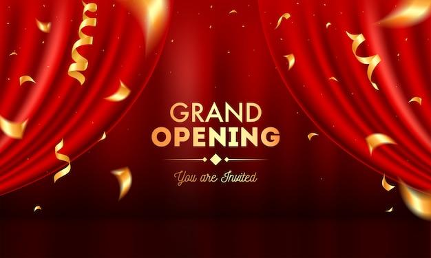 Invitación de inauguración realista con cortinas rojas y confeti dorado. Vector Premium