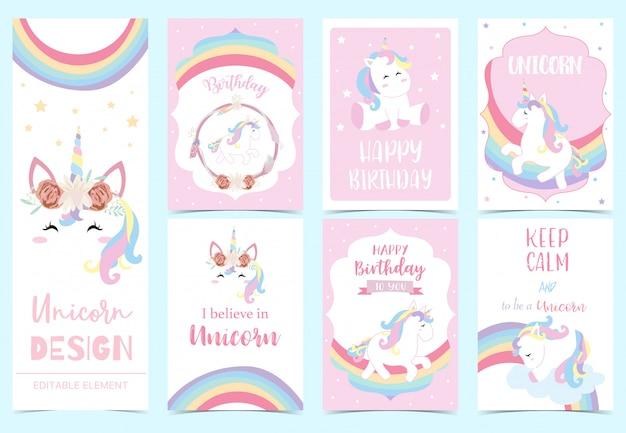 Invitación lindo unicornio para niño Vector Premium