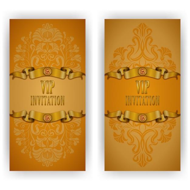 Invitación de lujo elegante plantilla, tarjeta con adorno de encaje Vector Premium