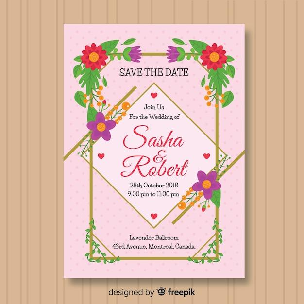 Invitación moderna de boda flores y líneas doradas vector gratuito