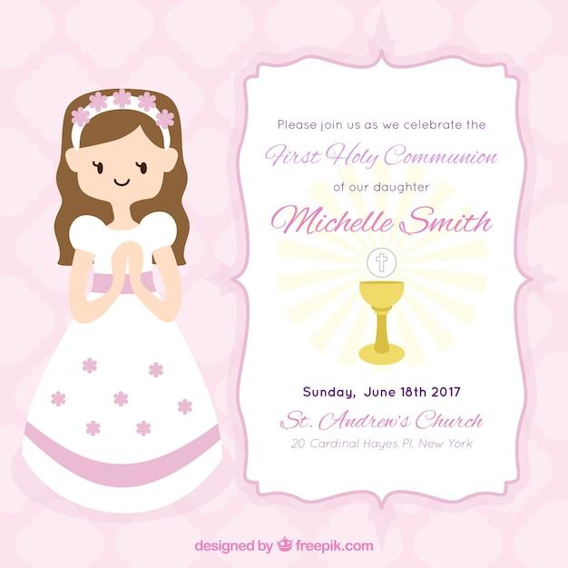 b36a10a7a5d56 Invitación de niña de primera comunión