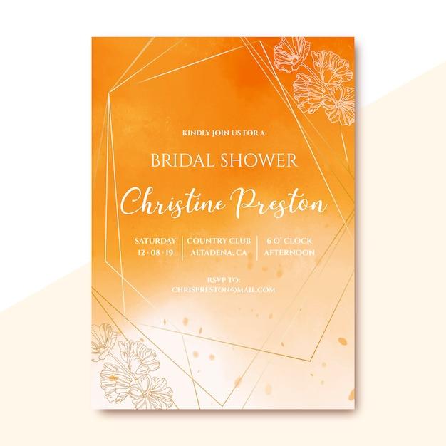 Invitación nupcial de la ducha con textura de oro de la acuarela vector gratuito
