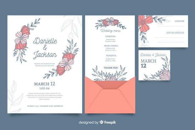 Invitación de papelería de boda floral vector gratuito