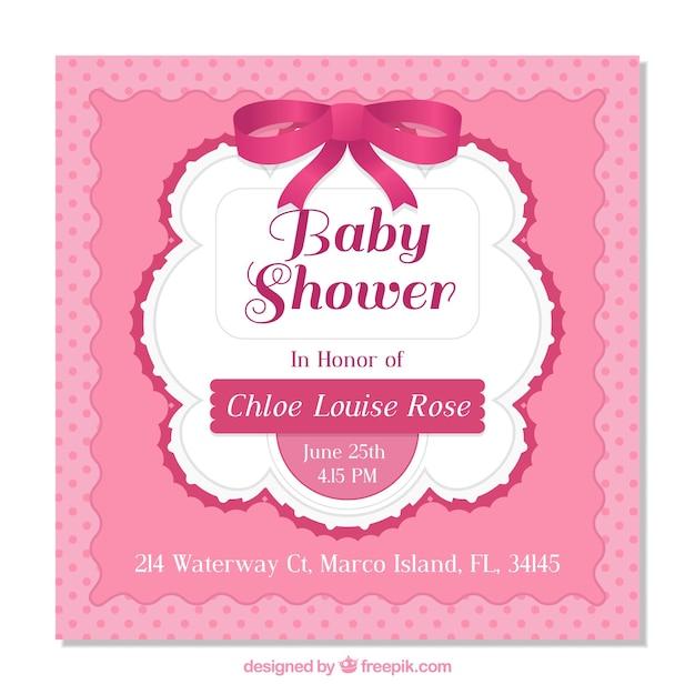 Invitación Para Baby Shower Para Una Niña | Descargar Vectores Gratis