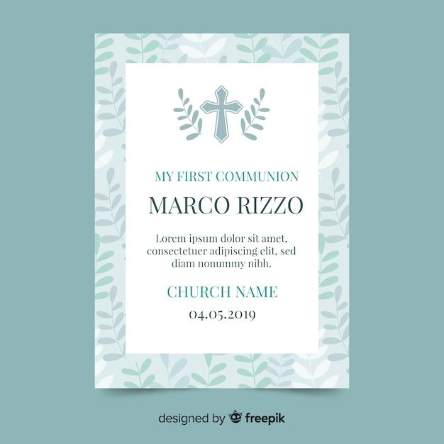 Invitación primera comunión cruz con hojas vector gratuito