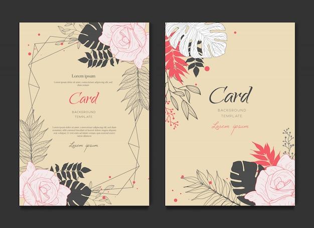 Invitación retro tarjeta floral Vector Premium