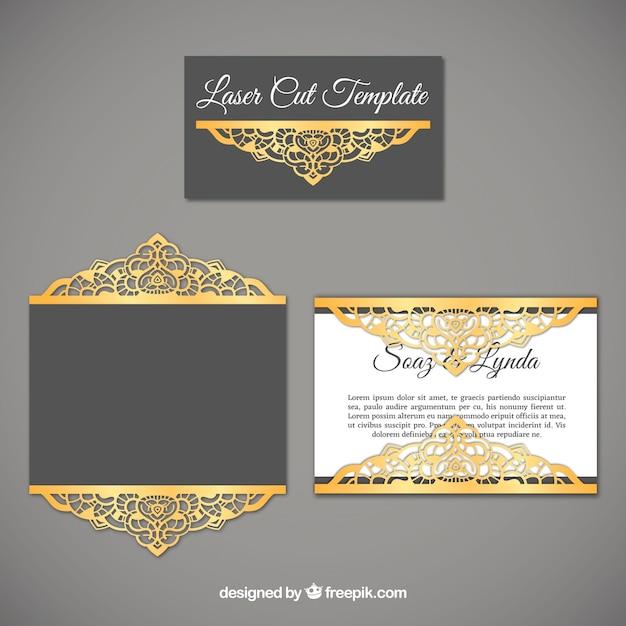 Invitación sofisticada de boda con detalles dorados Vector Premium