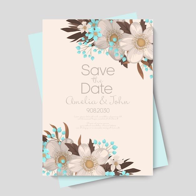 Invitación de tarjeta de boda floral. vector gratuito