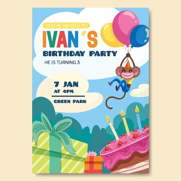 Invitación de tarjeta de cumpleaños para tema de plantilla para niños vector gratuito