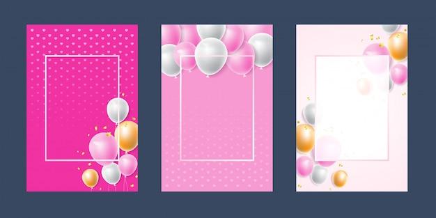 Invitación tarjeta fondo rosa blanco confeti Vector Premium